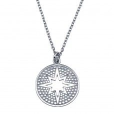 Wholesale Sterling Silver 925 Rhodium Plated Star Cutout Disc Pendant Necklace - SOP00156