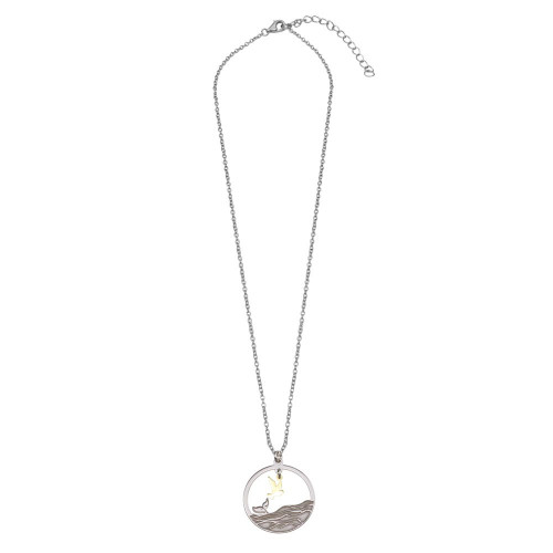 Wholesale Sterling Silver 925 Two Toned Whale Tail and Bird Pendant Necklace - SOP00157