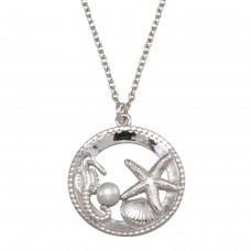 Wholesale Sterling Silver 925 Rhodium Plated Seahorse, Starfish, Clam, and Pearl Pendant Necklace - SOP00159