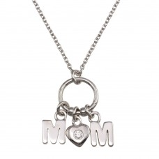 Wholesale Sterling Silver 925 Rhodium Plated Mom Heart CZ Pendant Necklace - SOP00161