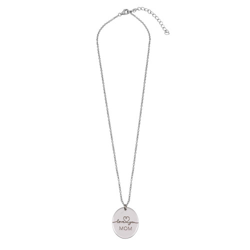 Wholesale Sterling Silver 925 Rhodium Plated Love You Mom Oval Disc Pendant Necklace - SOP00162