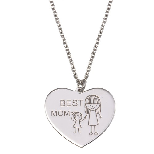 Wholesale Sterling Silver 925 Rhodium Plated Best Mom Heart Pendant Necklace - SOP00163