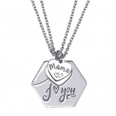 Wholesale Sterling Silver 925 Rhodium Plated Multi Chain Mama I Love You Hexagonal Pendant Necklace - SOP00164