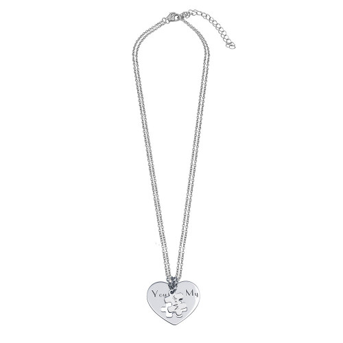 Wholesale Sterling Silver 925 Rhodium Plated Multi Chain You Are My Magic Heart Pendant Necklace - SOP00166
