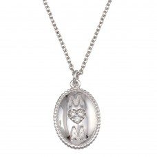 Wholesale Sterling Silver 925 Rhodium Plated Oval Mom Heart CZ Pendant Necklace - SOP00167