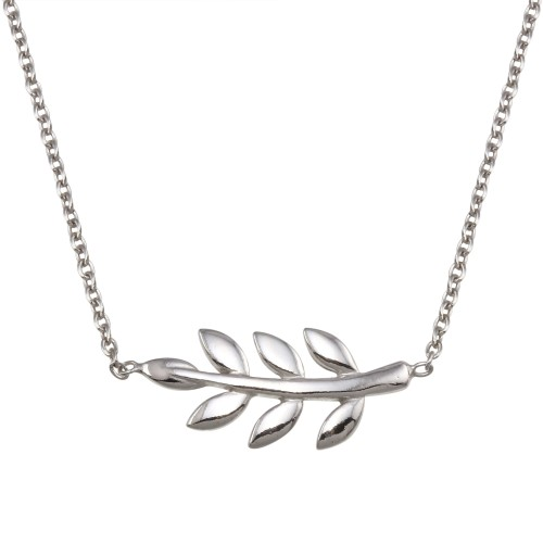 Wholesale Sterling Silver 925 Rhodium Plated Olive Branch Necklace - SOP00168