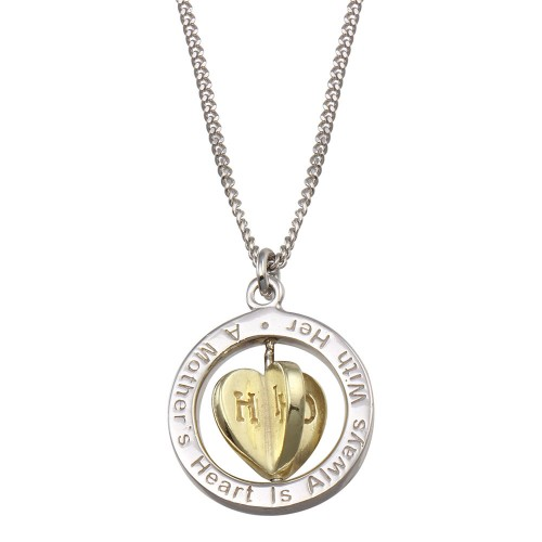 Wholesale Sterling Silver 925 Two Toned Mother's Heart Spinner Pendant Necklace - SOP00169