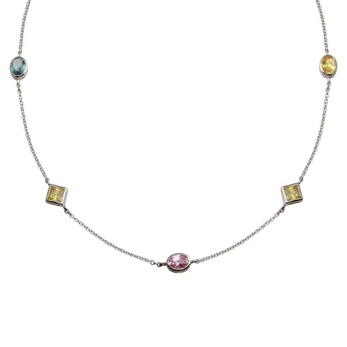 Wholesale Sterling Silver 925 Rhodium Plated Multi Color and Shape CZ Necklace - STP00268