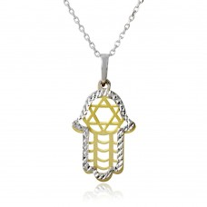 Wholesale Sterling Silver 925 Gold and Rhodium Plated Hamsa with Star of David Symbol Necklace - SOP00005