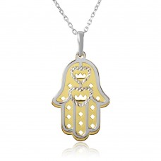 Wholesale Sterling Silver 925 Gold and Rhodium Plated Hamsa with Open Hearts Necklace - SOP00006