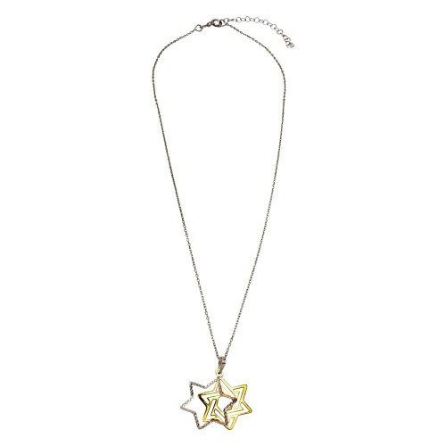 Wholesale Sterling Silver 925 Gold and Rhodium Plated Star of David Necklace - SOP00007