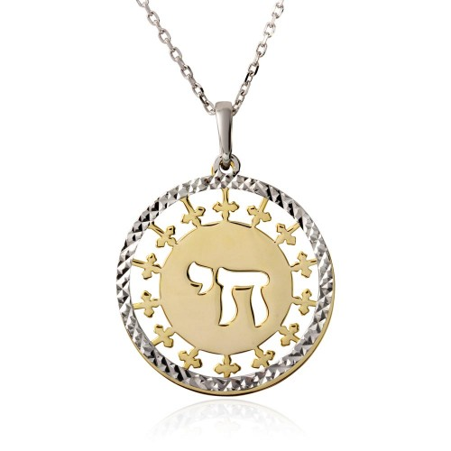 Wholesale Sterling Silver 925 Gold and Rhodium Plated It's a Good Life Symbol Necklace - SOP00008