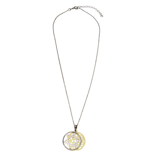 Wholesale Sterling Silver 925 Gold and Rhodium Plated Star of David Medallion Necklace - SOP00009
