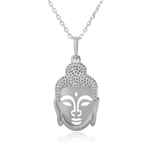 Wholesale Sterling Silver 925 Rhodium Plated Buddha Pendant Necklace - SOP00010