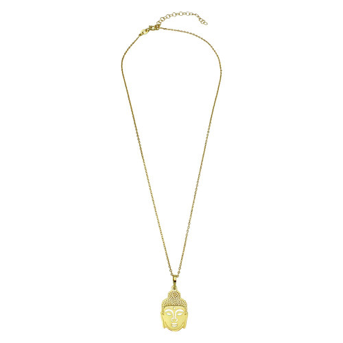 Wholesale Sterling Silver 925 Gold Plated Buddha Pendant Necklace - SOP00011