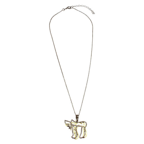 Wholesale Sterling Silver 925 Gold and Rhodium Plated It's a Good Life Symbol Necklace - SOP00012