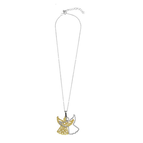 Wholesale Sterling Silver 925 Rhodium Plated Angel Necklace - SOP00013