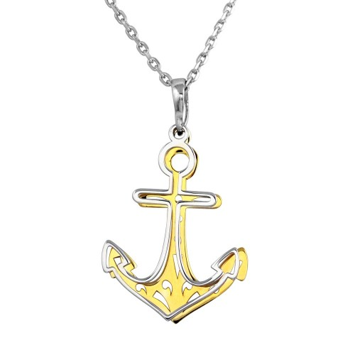 Wholesale Sterling Silver 925 2 Toned Rhodium and Gold Plated Double Anchor Necklace - SOP00014