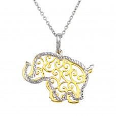 Wholesale Sterling Silver 925 2 Toned Rhodium and Gold Plated Elephant Necklace - SOP00015