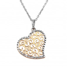Wholesale Sterling Silver 925 2 Tone Rhodium and Rose Gold Plated  Heart Necklace - SOP00016