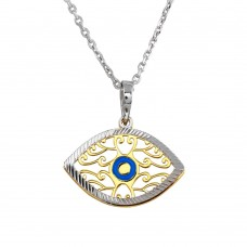 Wholesale Sterling Silver 925 2 Toned Blue Enamel Center Double Eye Necklace - SOP00017