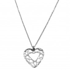 Wholesale Sterling Silver 925 Rhodium Plated Double Flat Open Heart Pendant - SOP00018