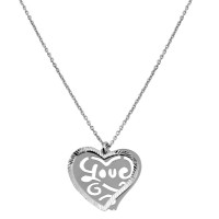 "Wholesale Sterling Silver 925 Rhodium Plated Double Flat Heart Pendant with ""Love"" Design - SOP00019"