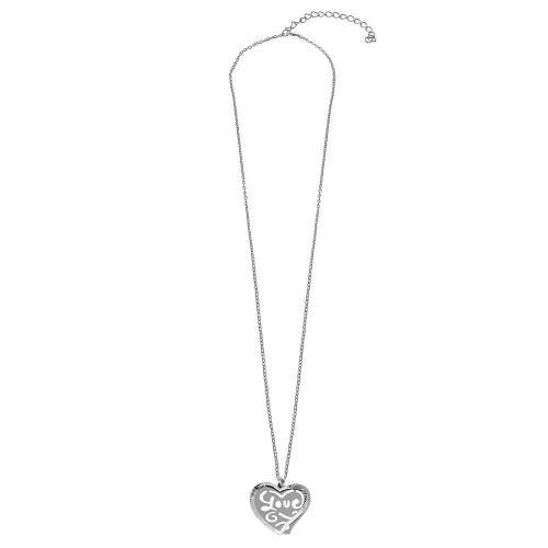 """Wholesale Sterling Silver 925 Rhodium Plated Double Flat Heart Pendant with """"Love"""" Design - SOP00019"""