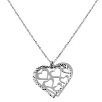 Wholesale Sterling Silver 925 Rhodium Plated Double Flat Open Heart Pendant with Multiple Hearts Design - SOP00020