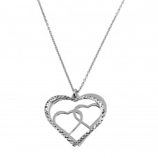 Wholesale Sterling Silver 925 Rhodium Plated Double Flat Heart Pendant with Two Hearts Design - SOP00021