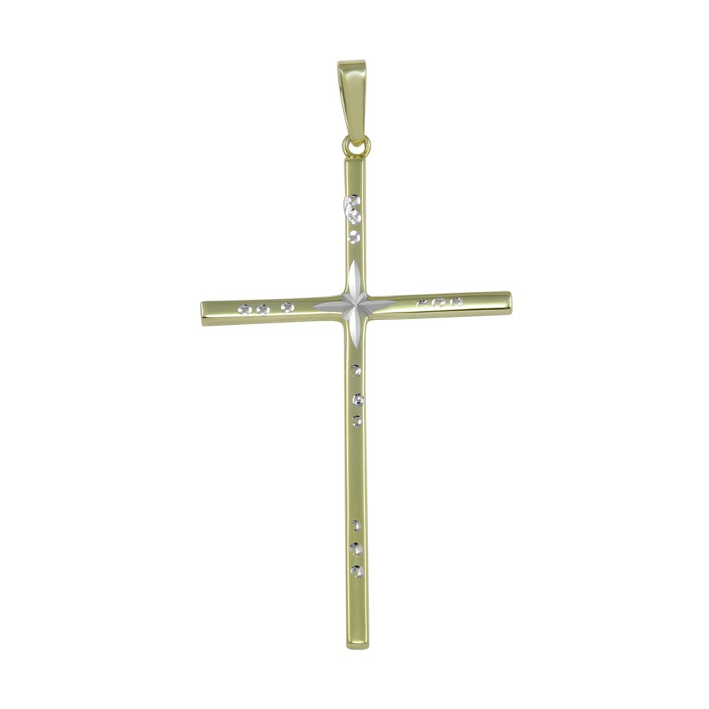 Wholesale Sterling Silver 925 Gold Plated Engraved Cross Pendant - SOP00022