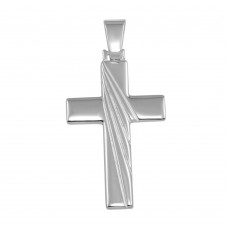 Wholesale Sterling Silver 925 Rhodium Plated Engraved Cross Pendant - SOP00039
