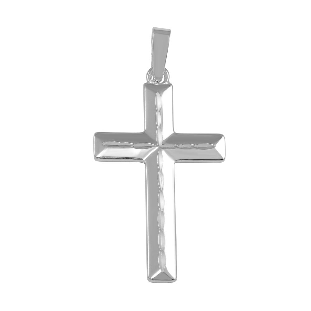 Wholesale Sterling Silver 925 Silver Finish High Polished Flat Cross Pendant - SOP00041
