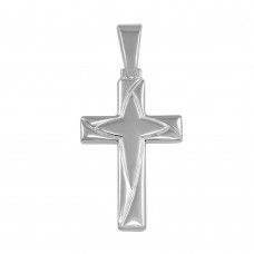 Wholesale Sterling Silver 925 Silver Finish High Polished Engraved Cross Pendant - SOP00043