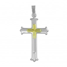 Wholesale Sterling Silver 925 Two Tone Cross Pendant - SOP00044