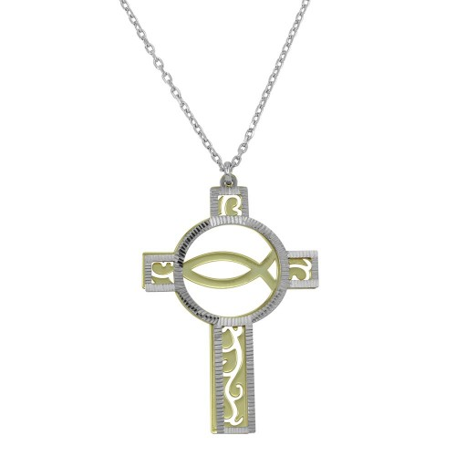 Wholesale Sterling Silver 925 Two Tone Hold and Rhodium Plated Cross Pendant Necklace - SOP00046
