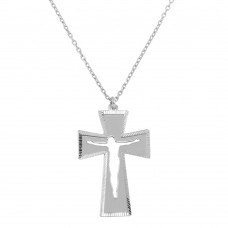 Wholesale Sterling Silver 925 Double Cross Pendant Necklace - SOP00047