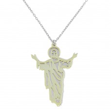 Wholesale Sterling Silver 925 Two Tone Gold and Rhodium Plated Jesus Pendant Necklace - SOP00048