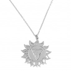 Wholesale Sterling Silver 925 Rhodium Plated Manipura Chakra Symbol Necklace - SOP00052
