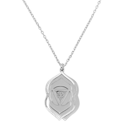 Wholesale Sterling Silver 925 Rhodium Plated Ajna Chakra Symbol Necklace - SOP00054