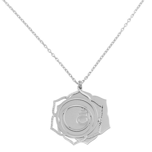 Wholesale Sterling Silver 925 Rhodium Plated Sacral Chakra Necklace - SOP00056