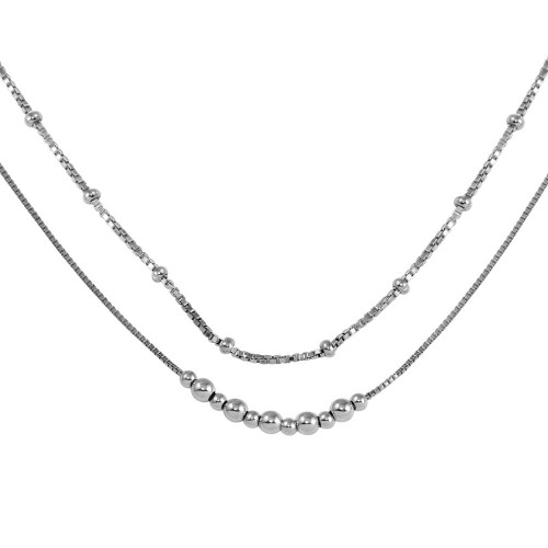 Wholesale Sterling Silver 925 Rhodium Plated Double Chain Bead Necklace - SOP00057