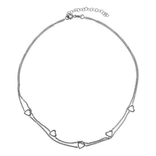 Wholesale Sterling Silver 925 Rhodium Plated Double Chain Hearts Necklace - SOP00058