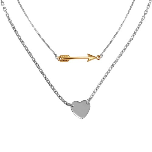 Wholesale Sterling Silver 925 Rhodium Plated Double Link Arrow and Heart Pendant Necklace - SOP00061