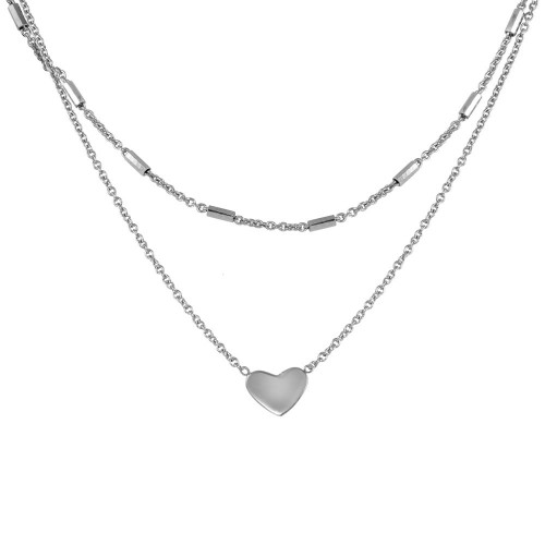 Wholesale Sterling Silver 925 Rhodium Plated Double Link Heart Pendant Necklace - SOP00062