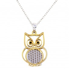 Wholesale Sterling Silver 925 Two-Toned Owl Pendant Necklace - SOP00063