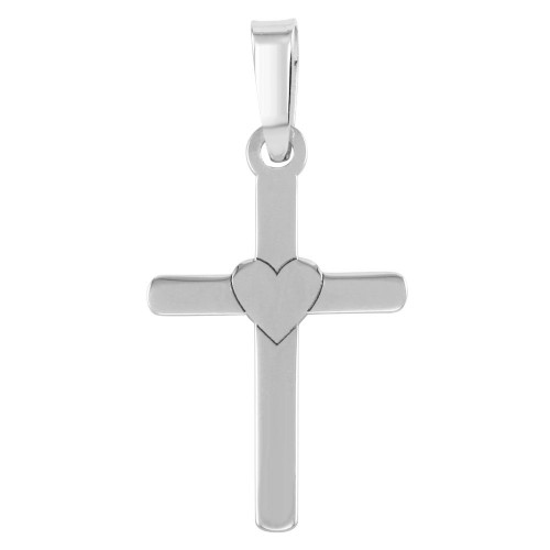 Wholesale Sterling Silver 925 Rhodium Plated Cross and Heart Pendant - SOP00069
