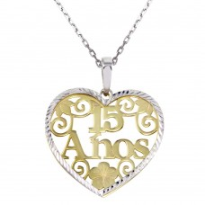 Wholesale Sterling Silver 925 Two-Toned 15 Anos Heart Pendant Necklace - SOP00073