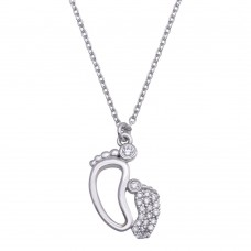 Wholesale Sterling Silver 925 Rhodium Plated Open Foot Pendant Necklace with CZ - SOP00084
