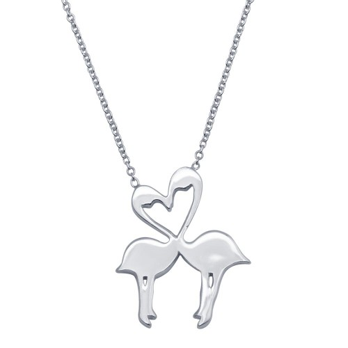 Wholesale Sterling Silver 925 Rhodium Plated Flat Flamingo Pendant Necklace - SOP00086